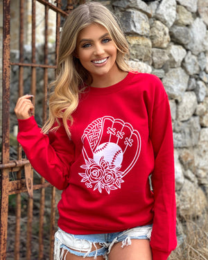 Floral Ball & Glove Red Comfy Sweatshirt