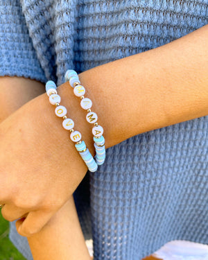 Shades Of Blue Mama Love Beaded Bracelet Set