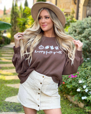 Happy Fall Y'all Mocha Cropped Oversized Sweatshirt