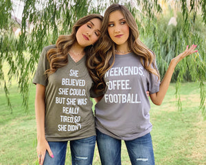 Weekends. Coffee. Football. – Comfy VIntage Gray Tee