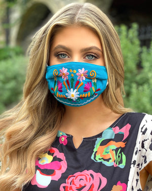 Turquoise Blue Colorful Embroidered Floral Mask