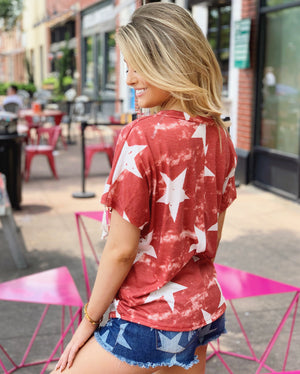Star Print V-Neck Lace-Up Top