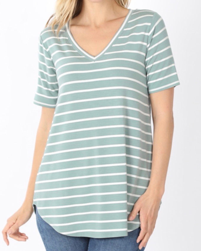 Light Green Super Soft Striped V-Neck Short-Sleeve Top (S-3XL)