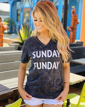 SUNDAY FUNDAY Black Mineral-Dipped Super Comfy Tee