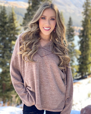 Mocha Soft-Brushed Jersey Hoodie Top
