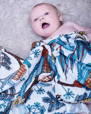 Rust & Turquoise Flora Swaddle
