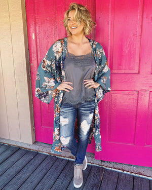 Floral Side-Slit Kimono (Vintage Mocha) - Live Love Gameday®