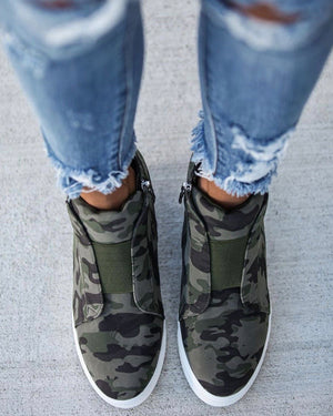 Vintage Camo High-Top Wedge Sneaker