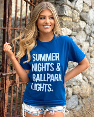 Bright Blue Summer Nights & Ballpark Lights® Suede Tee