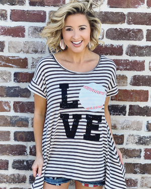 Baseball – LOVE Baseball – LIMITED EDITION Striped Swing Tunic - Live Love Gameday®