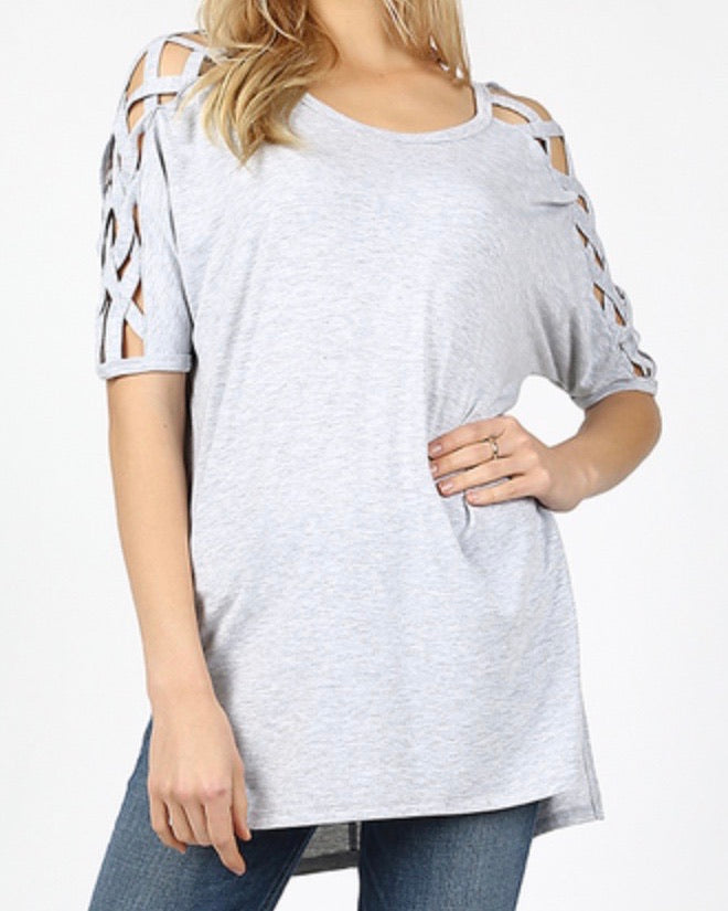 Heather Gray Criss-Cross Shoulder Top With High-Low Hem