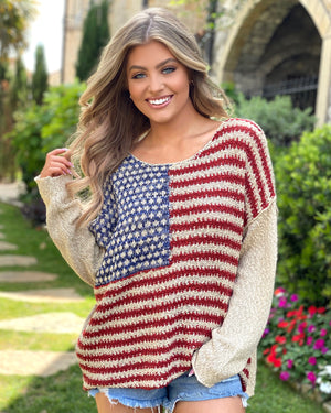 Americana Star Long-Sleeve Pullover Sweater