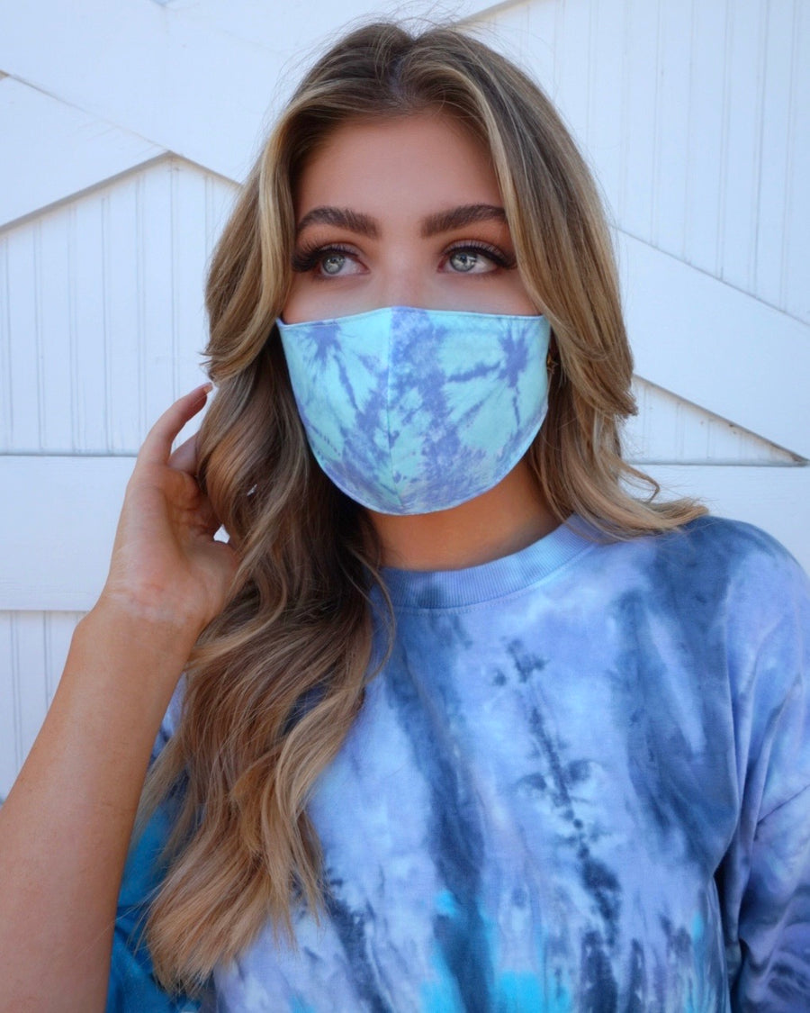Periwinkle/Aqua Blue Tie-Dye Daily Face Cover