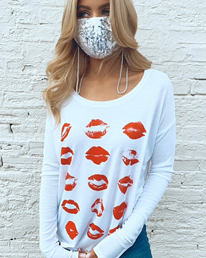 White Beaded Mask Chain Holder