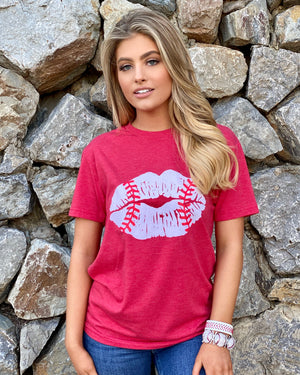 Red Baseball Lips Casual Tee