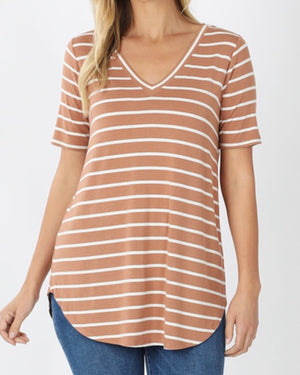 Copper Super Soft Striped V-Neck Short-Sleeve Top (S-3XL)