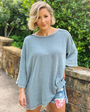 Oversized Incredibly Soft Ribbed Slouchy Top (Slate Blue)