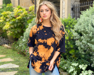 Black & Orange Tie-Dye Oversized Tee