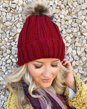 Chunky Knit Beanie With Pom – Wine (Fleece Lined) - Live Love Gameday®