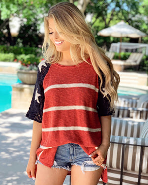 Stars & Stripes Crochet-Sleeve Knit Tunic
