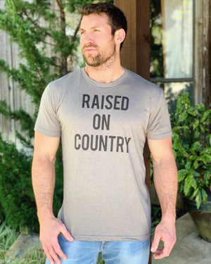 Country Tees For A Cause – Raised On Country Vintage Gray Unisex Crew Neck Tee - Live Love Gameday®