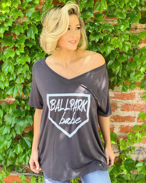 Ballpark Babe Oversized Slouchy V-Neck (Plus Sizes Now Available)