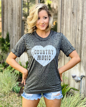 Country Tees For A Cause – Country Music Heart Black Acid-Wash Tee - Live Love Gameday®
