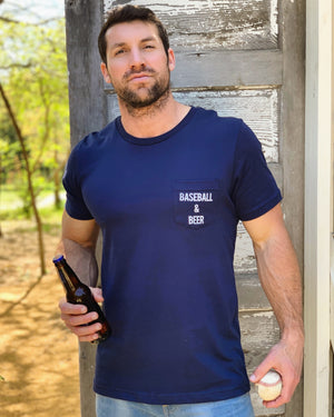 Baseball & Beer Navy Unisex Pocket Tee - Live Love Gameday®