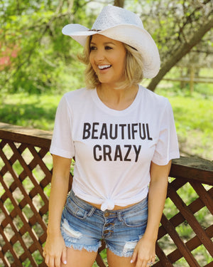 Country Tees For A Cause – Beautiful Crazy White Crew Neck Tee - Live Love Gameday®
