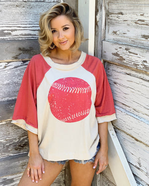 Open-Back Oversized Vintage Beige & Coral Baseball Top