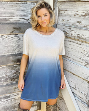 Blue Ombré Short-Sleeve Tunic - Live Love Gameday®