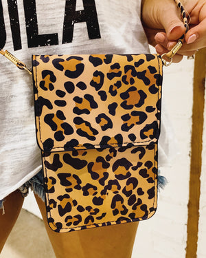 Leopard Crossbody With Cellphone Texting Clear Pouch