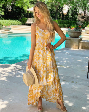 High-Low Ruffle Flowy Maxi (Yellow)