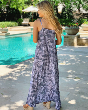 High-Low Ruffle Flowy Maxi (Periwinkle)