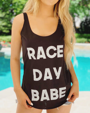 RACE DAY BABE Comfy Vintage Black Tank