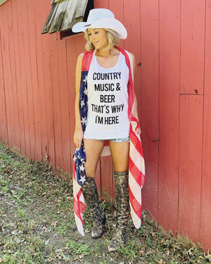 Country Tees For A Cause – Country Music & Beer Is Why I'm Here White Tank - Live Love Gameday®