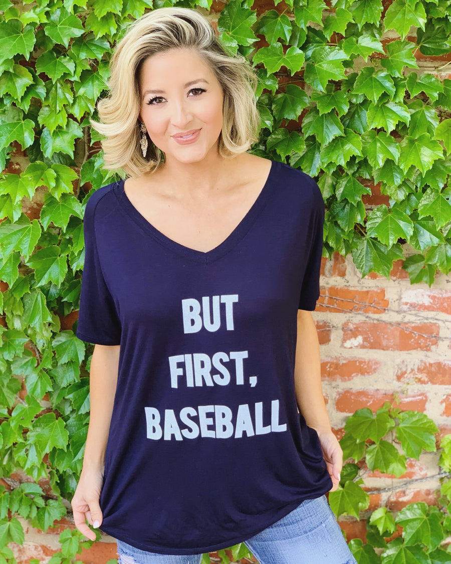 But First, Baseball Navy Oversized Slouchy V-Neck (Plus Sizes Now Available)