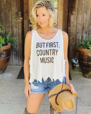 Country Tees For A Cause – But First, Country Music Lace-Up Ivory Tank - Live Love Gameday®
