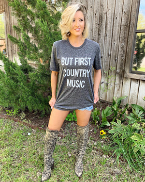 Country Tees For A Cause – But First, Country Music Gray Acid-Wash Tee - Live Love Gameday®