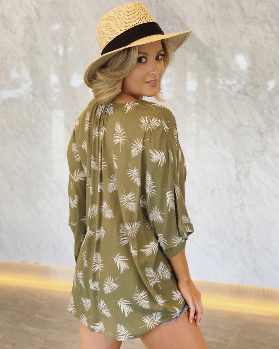 Vintage Olive Leaves Button-Down Top