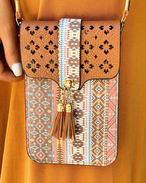 Rust & Aqua Tassel Crossbody With Cellphone Texting Clear Pouch