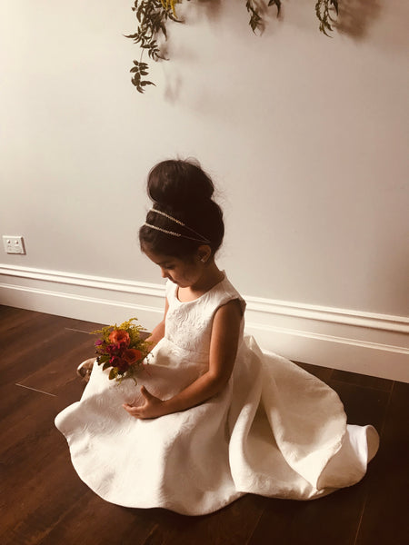 Hi-Low Ivory Brocade Flower Girl Dress