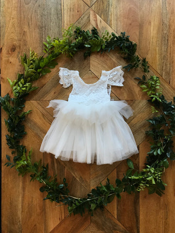 Duchess Aurora Lace V Back White Flower Girl Dress