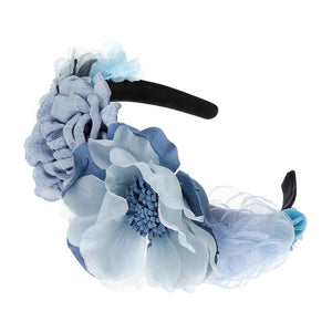Pale Dusty Blue Floral Hairband