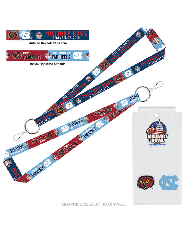 North Carolina Tar Heels V Temple Owls 2019 Military Bowl Lanyard