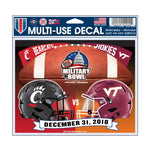 Military Bowl Wincraft Virginia Tech Vs. Cincinnati 5x6 Decal