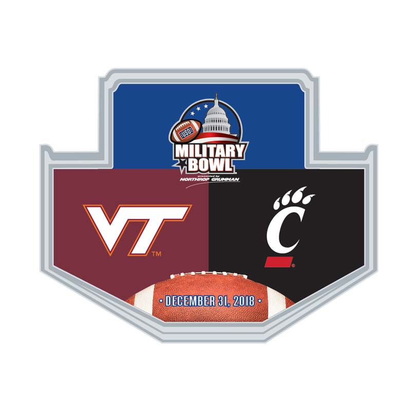 Military Bowl Wincraft Virginia Tech Vs. Cincinnati Lapel Pin