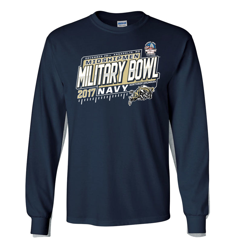 2017 Military Bowl Navy Men's Cotton Long Sleeve Tee