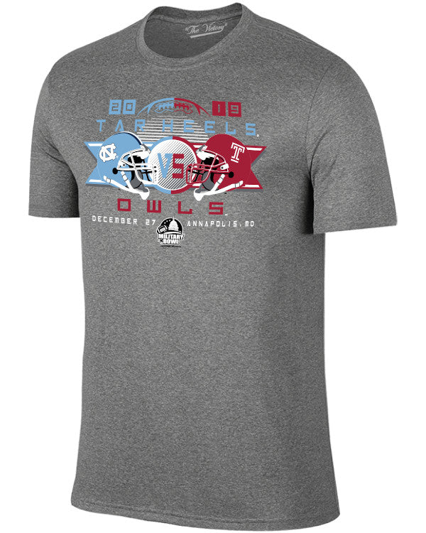 North Carolina Tar Heels V Temple Owls 2019 Military Bowl Youth Short Sleeve T-Shirt