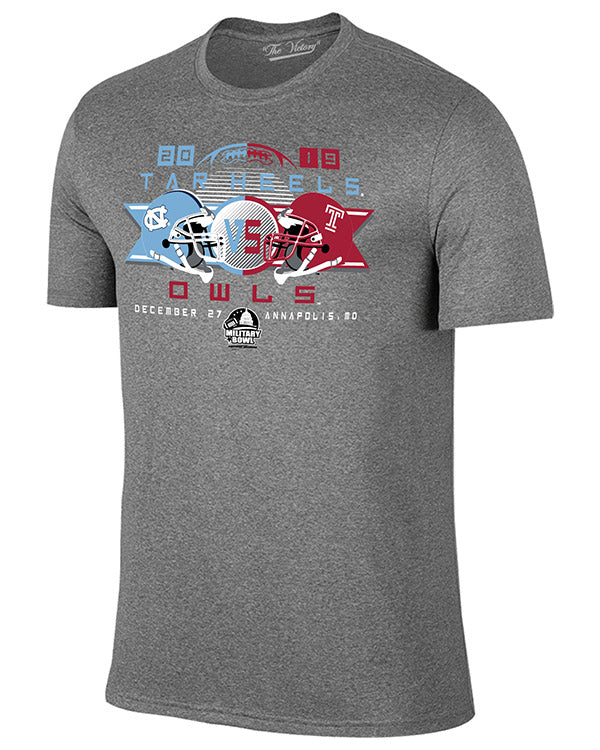 North Carolina Tar Heels V Temple Owls 2019 Military Bowl Short Sleeve T-Shirt